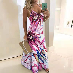 Plus Size Floral Print Maxi Dress Women S-5XL Bohemian Sundress Spaghetti Strap Womens Party Sling Dresses For Dinner Robe Mujer MX200518