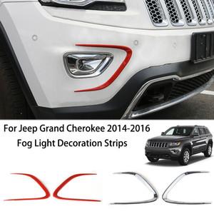 ABS Car Front Bumper Fog Light Decoration Strips For Jeep Grand Cherokee 2014 2016 Exterior Acessórios