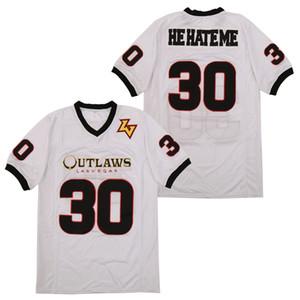 30 de la varilla Smart Las Vegas Outlaws Él me odie blanca XFL del jersey del fútbol cosido parches jerseys del juego bordado