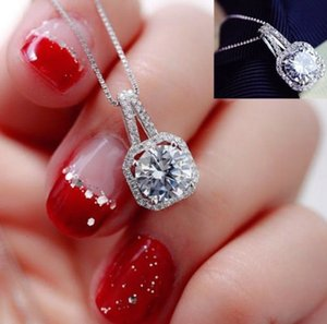 Isang 925 Sterling Silver Pendant Necklace American European High Quality Cubic zirconia Diamond Necklace Girls Jewelry Wholesale