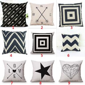 Fundas de almohada Geometry Fundas de cojines Geometry blanco negro Funda de almohada decorativa Nordic de lino de algodón Impreso
