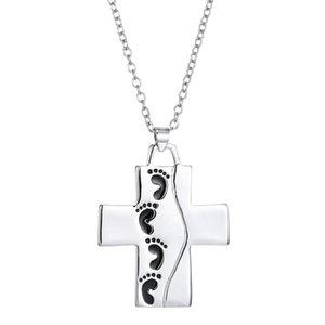 Doble Sider Pie Jesús Cruz Collar de Letras de Plata Dios Dijo Amor Cadena Colgante Regalo de Joyería de Moda Envío de La Gota