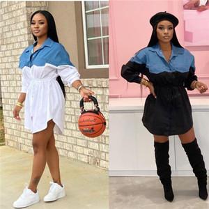 Gömlek Elbise İlkbahar Yaz Tasarımcı Bayan Yüksek Bel Sashes Elbiseler Dişiler Düzensiz Yaka Boyun Moda Günlük Çamaşır Bayanlar demineralize Penelled