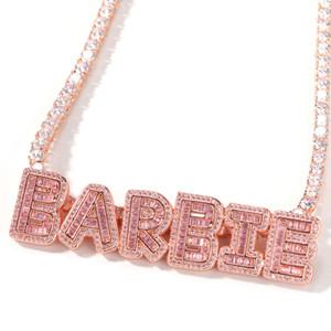 Hip Hop Custom Name Baguette Letters With Tennis Chain Men Women Micro Cubic Zircon Pendant Necklace Jewelry