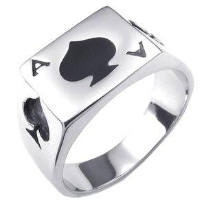 Jóias Masculinas Ring, Ring, cartões de jogo, o Poker Ace of Spades, Aço Inoxidável, Black Prata - 17,3 milímetros (com saco do presente)