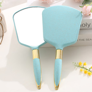 Cute Pink Makeup Vanity Mirrors Vintage Mirror With Handle Women Round Hand Hold Cosmetic Mirrors High Definition Portable Mirror BH2583 TQQ