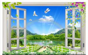 3D 벽지 사용자 정의 사진 실크 벽화 종이 슈퍼 아름다운 자연 풍경 3D 입체 창 벽화 배경 벽 스티커