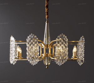 Luxury Copper Crystal Chandelier Modern Living Room Dining Room Lamp American LED Crystal Lamp Designer Lighting Lamps LLFA