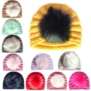 Детские зима теплая шерсть шляпа с Hairball Детские вязаные шапки Мягкие Теплый Детские Шапочки Cap Индия Стиль Todder непродуваемых Cap Детские шапки Earmuffs