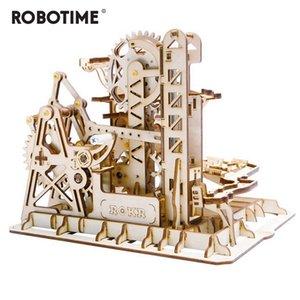 Robotime DIY 타워 Coaster 마법의 창조적인 대리석 게임을 실행 나무로 되는 모델의 건물이 어셈블리 키트는 장난감 선물을 위한 성인 어린이 LG504Y200317