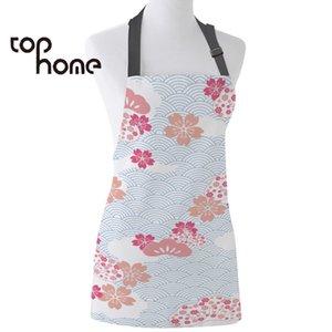 Grembiule da cucina Tophome Giappone Cherry Blossoms Stampato regolabile senza maniche Grembiuli di tela per uomo Donna Bambini Strumenti per la pulizia della casa