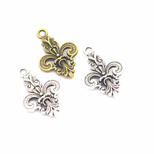 Toplu 200pcs / Making lot Takı Tedarik Charms Bulguları Fleur De Lis İris Lily Charms kolye için Craft 22 * ​​24mm