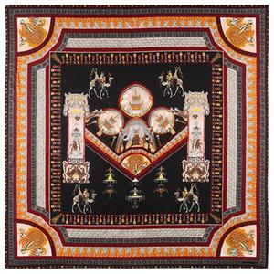 big size130x130cm sciarpa European and American Palace Castle Building Pendente Camel Turban sciarpa di seta Twill Large Square sciarpe