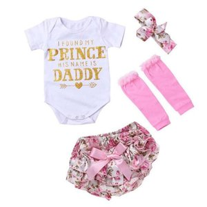 3-18M Born Baby Clothes Sets Children Clothes Letter Printer Romper And Broken Flower Ruffled Bow Shorts Suits for Infant Toddlers DHL 6A1014