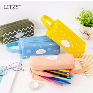 Large Capacity Pencil Case Bags Pouch Geometric Pen Box for Boy Girl Double Zipper Pencilcase School Office Stationary Supplies