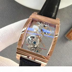 Lüks saatler GOLDEN BRİDGE şeffaf makineleri 316 paslanmaz çelik kasa hakiki deri kayış Mens marka Gent kol AAA163