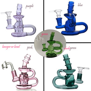 5.5 inchs Pink Bong Recycler Dab Rigs Beaker Bong Smoke Pipes Accessories Glass Water Bongs Hookahs With 14mm Banger