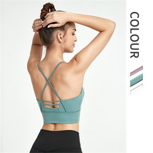 Women's Sports Bra Top Vest Sexy Beauty Back Cross Strap Gym Fitness Bra High Impact Resistance Seamless Bh Push-ups Yoga