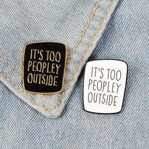 Introverts Arkadaşlar için Introvert Emaye Pim Siyah Beyaz Badge çok peopley Broş Çanta Giyim Yaka pin Punk Takı Hediye