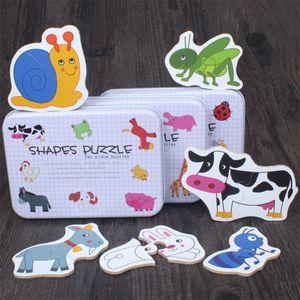 Los niños juguetes educativos caja de hierro infantil Early Head Start Entrenamiento Cognitivo Puzzle Tarjeta de frutas Vehículo animal, creado par Puzzle