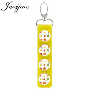 Fruit Pear Strawberry Watermelon Glass Keychain Snap Button Yellow Leather Car Key Ring Charm Women Pendant FT19