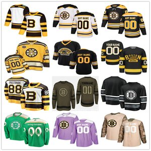 Custom Boston # 8 Ken Hodge 86 Kevan Miller 90 Marcus Johansson 48 Matt Grzelcyk Uomo Donna Bambino Youth Hockey Maglie