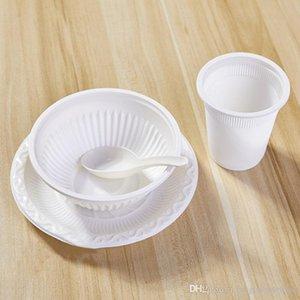 Dégradable Vaisselle jetable Vaisselle Set Eco-friendly amidon de maïs à usage unique Bowl Coupes Spoon Set Aviation dégradable Bowl Set BH1759 TQQ