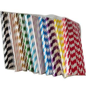 2020 25pcs / set Biyobozunur Kağıt Payet Gökkuşağı Çizgili Kağıt Meyve suyu renkli içme saman M1066 için Payet Toplu Kağıt Payet İçme