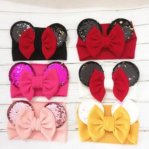 Baby-Haar-Bänder 6 Design Feste elastische Pailletten Großer Bogen Stirnband-Mädchen-Stirnband für Kinder Kopfbedeckung 07