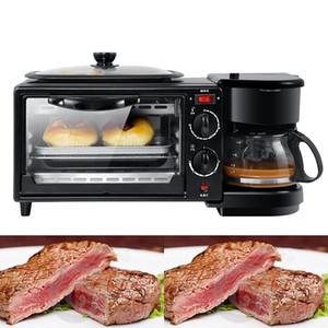 Commercial 3-in-1 petit déjeuner cafetière 600W + 750W machine Teppanyaki + 750w Four à pain Grille-pain de cuisson machine à pain / Fried Egg / Cuisinière Café