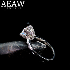 AEAW or blanc massif de 3.0ct diamants ronds de HTHP coupe d'engagement des femmes à la mode Fine Jewelry Bague S200110