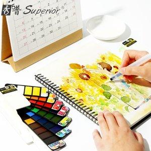Fan şeklinde bir üstün bir katı sulu boya boya başlangıç şeffaf çizim taşınabilir renkli boya dolma kalem sanat malzemeleri