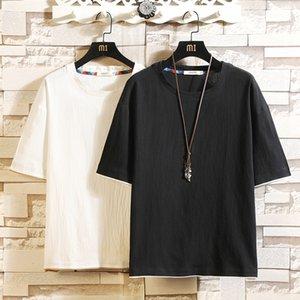 Short Sleeve Linen T Shirt Men 2020 Summer Classic Tshirt Top Tees Casual Brand Fashion Clothes Plus Size M-4XL 5XL O NECK T200528