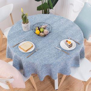 RZCortinas Masa Örtüsü Yuvarlak Düğün Masa Örtüsü Pamuk Keten Tablecloth Nordic Çay Kahve örtüler Ev Mutfak Dekor T200707