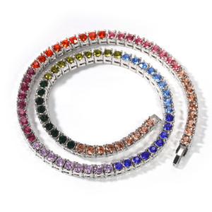 2019 Nouveau Glacé charme chaîne collier coloré strass Tennis ligne Colliers Choker Hip Hop Bijoux 16inch, 18inch, 20inch M698F