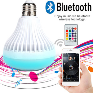 Wireless Bluetooth Speaker lampadina LED RGBW Musica E27 12W intelligente lampadina APP telecomando per fase del partito della barra KTV
