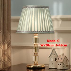table en cristal contemporaine Lampes bureau lampshade tissu léger hôtel de luxe bureau chambre éclairage salle d'étude chevet lampe de table moderne conduit