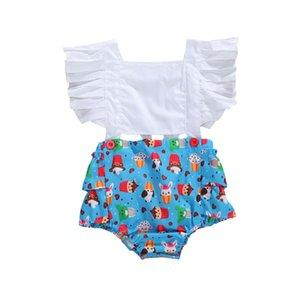 Summer Cute Newborn Baby Girls Cotton Romper Cartoon Print Patchwork Rompers Ruffles Sleeveless Backless Jumpsuits