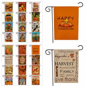 Ringraziamento Turchia Giardino Bandiera della zucca di Halloween autunno cadono Benvenuto doppio lato di stampa Hanging Banner Bandiere decorazione del partito 30 * 45cm FFA3135-1