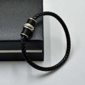 클래식 블랙 짠 가죽 팔찌 럭셔리 MB 브랜딩 남자 보석 마그네틱 종료 팔찌-고품질 Msk-163 쓰기 볼펜