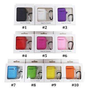 Pour Apple Airpods Cases Silicone Souple Ultra Mince Protecteur Airpod Couverture Earpod Case Anti-goutte Avec Crochet Boîte Au Détail DHL Envoi