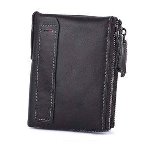 Portafogli in vera pelle Portafogli con cerniera Pocket Rfid Blocking Sacchetti di denaro Portafoglio porta carte moneta piccola borsa Y19051702