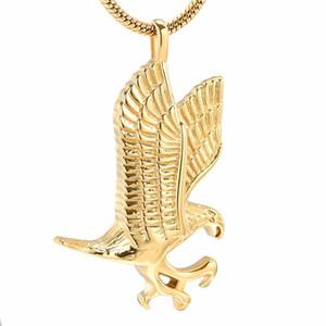 IJD10077 Volant Gold Eagle Memorial Urna Collar 316L Acero inoxidable Mujeres Hombres Recuerdo Cremación Joyería Sostener Cenizas de mascotas