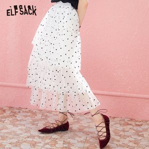 ELF SACK Fashion Dot Tulle Skirt Asymmetrical Women Long Skirt Japan Style Sweet Basis Femme Skirts 2019 New Summer Skirts