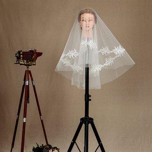 New Popular Duas camada Hip Comprimento Marfim Branco Wedding Veil Lace Applique Borda elegante Meidingqianna Marca Bridal Veil Com Um Pente Liga