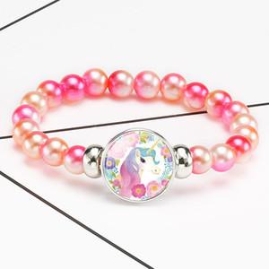Cute Unicorn Beads Bracelets Bangles For Children Brand Jewelry Colorful Acrylic Bead Kids Bracelet Cartoon Jewelry Accessories Girls