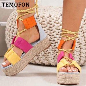 TEMOFON büyük beden kadınlar sandalet platformu halat bayanlar plaj ayakkabıları ayakkabıları yüksek topuk gladyatör sandalet Sandalia Feminina HVT797 CY200518 takoz