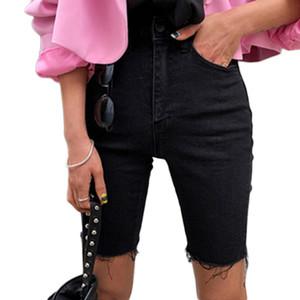 Genayooa колена Denim шорты Женщины Push Up Упругие высокой талией Байкер Шорты джинсовые шорты женщин лето 2020 Черный Streetwear CX200605