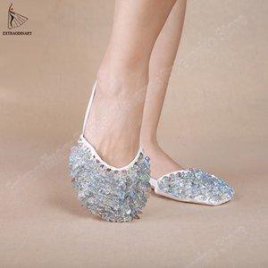 Женщины из бисера Блестки Toe Pad Практика Обувь для ног Thong Flats танец носки Профессиональный танец живота Уход Инструмент Foot