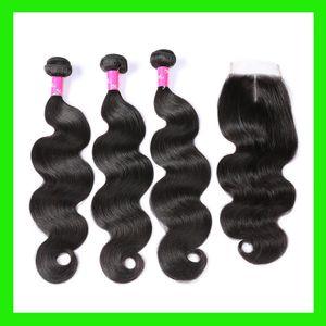 Ais Bundles avec fermeture Brésil Human Bundles cheveux indiens avec fermeture Brésil Bundles cheveux seul donneur Unprocess Remy Hair Extensions